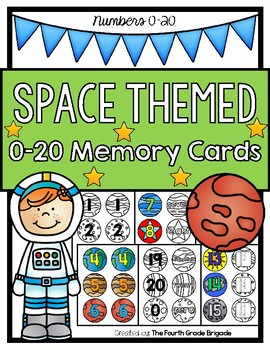0-20 Space Themed Memory Match Cards