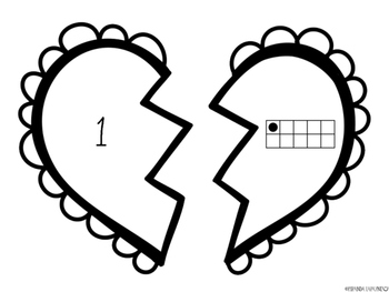0 - 20 Ten Frame Heart Matching Game