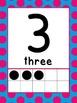 0-20 Ten Frame Number Posters (Blue/pink polka dot)