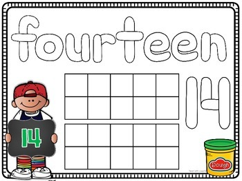 0-20 Ten Frame and Number Word Play Dough Mats