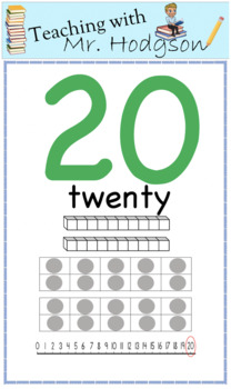 0-20 posters with MAB, Number Line and Tens frame