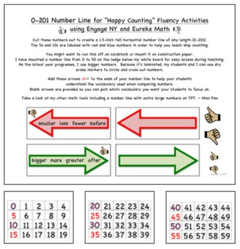 """0-201 Number Line for """"Happy Counting"""" Fluency Using Engage NY & Eureka Math"""