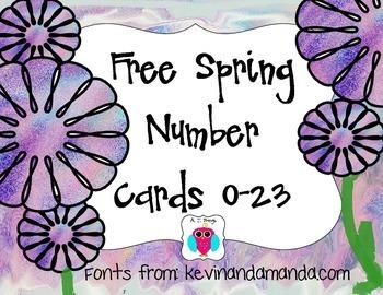 0-23 Free Flower Number Cards