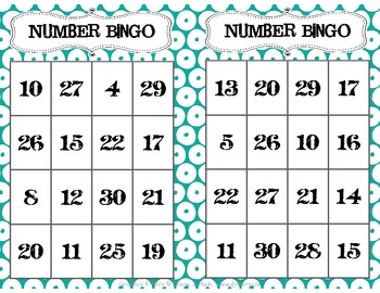 0-30 Number Recognition Bingo