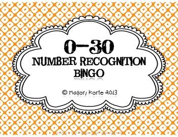 0-30 Number Recognition Bingo
