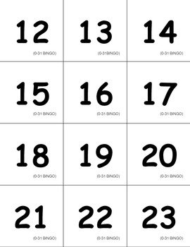 Numbers 0-31 BINGO Game