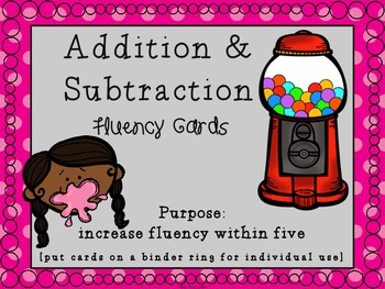 Sticky Fluency Cards [Addition and Subtraction Within Five Flashcards]