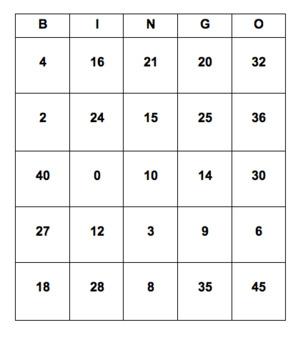 0-5 Multiplication BINGO cards