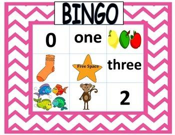 0-5 Number Recognition Bingo