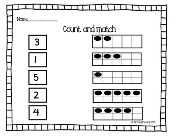 0-5 Ten Frame Quick Check Assessment Kindergarten