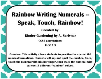 0-9 No-Prep Numeral Rainbow Writing