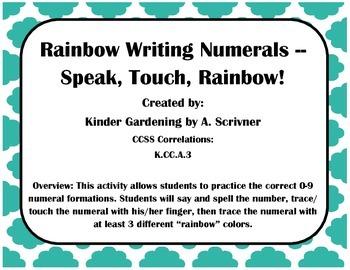 0-9 No-Prep Numeral Rainbow Writing
