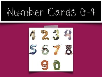 0-9 Number Cards: Animal Numbers