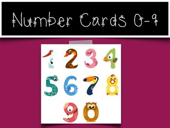 0-9 Number Cards: Bird Numbers