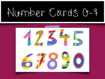 0-9 Number Cards: Striped Numbers