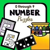 0-9 Number Puzzles for Preschool and Kindergarten