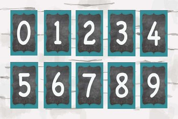 0-9 Numbers for classroom, Chalkboard and Aqua classroom decor, teaching decor