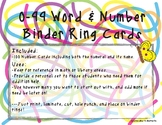 0-99 Numeral & Name Binder Ring Cards