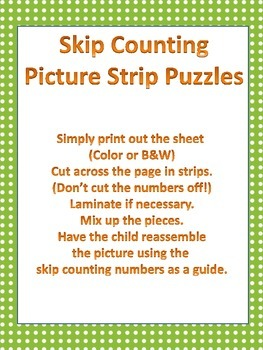 Skip Counting - Picture Strip Puzzles - Cats - Counting by 2s to 12s