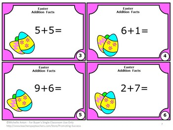 Kindergarten Easter Math Activities, Addition Facts Task Cards MICH