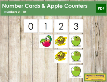 0 to 10 Number Cards and Counters - Apples