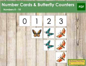 0 to 10 Number Cards and Counters - Butterflies