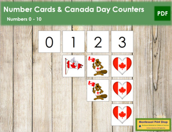 0 to 10 Number Cards and Counters - Canada Day