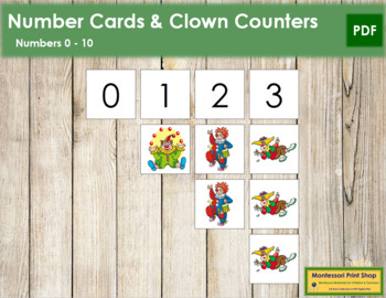 0 to 10 Number Cards and Counters - Clowns