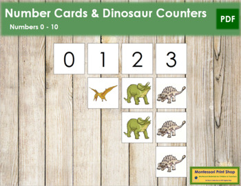 0 to 10 Number Cards and Counters - Dinosaurs