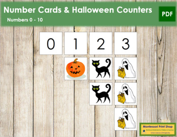 0 to 10 Number Cards and Counters - Halloween