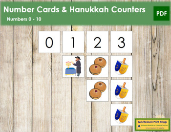 0 to 10 Number Cards and Counters - Hanukkah