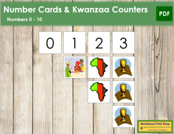 0 to 10 Number Cards and Counters - Kwanzaa
