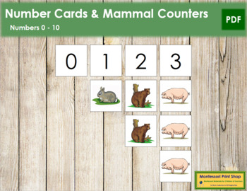 0 to 10 Number Cards and Counters - Mammals