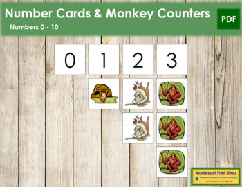 0 to 10 Number Cards and Counters - Monkeys