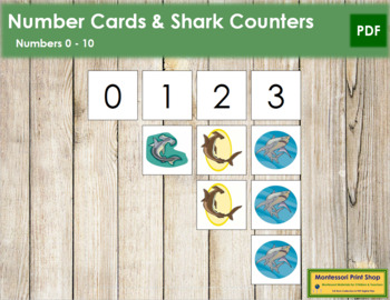 0 to 10 Number Cards and Counters - Sharks