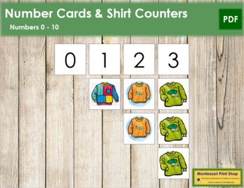 0 to 10 Number Cards and Counters - Shirts