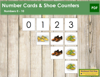 0 to 10 Number Cards and Counters - Shoes