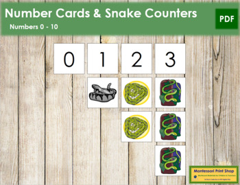 0 to 10 Number Cards and Counters - Snakes