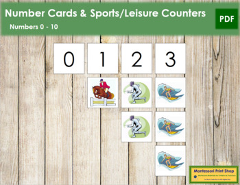 0 to 10 Number Cards and Counters - Sports & Leisure