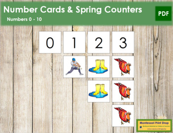 0 to 10 Number Cards and Counters - Spring