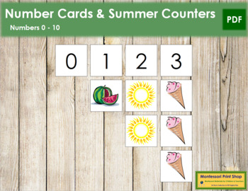 0 to 10 Number Cards and Counters - Summer