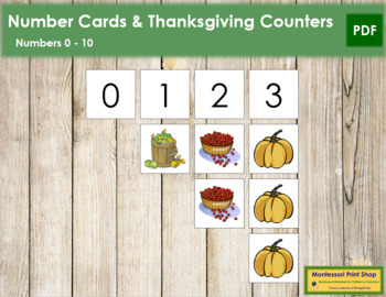 0 to 10 Number Cards and Counters - Thanksgiving