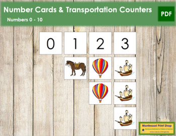 0 to 10 Number Cards and Counters - Transportation