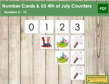 0 to 10 Number Cards and Counters - US 4th of July