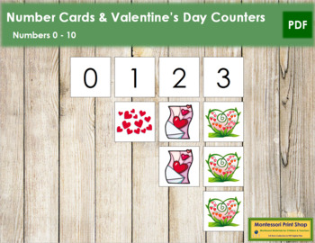 0 to 10 Number Cards and Counters - Valentine's Day