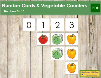 0 to 10 Number Cards and Counters - Vegetables