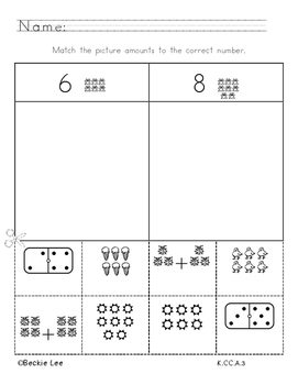 0 to 10 Number Picture Match Pack 1 Kindergarten
