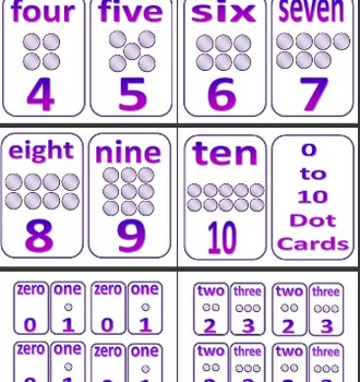 0 to 10 Purple Coloured Dot Cards