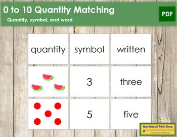 0 to 10 Quantity, Symbol, and Word Matching