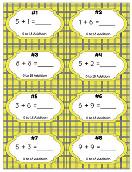 0 to 18 Addition Task Cards